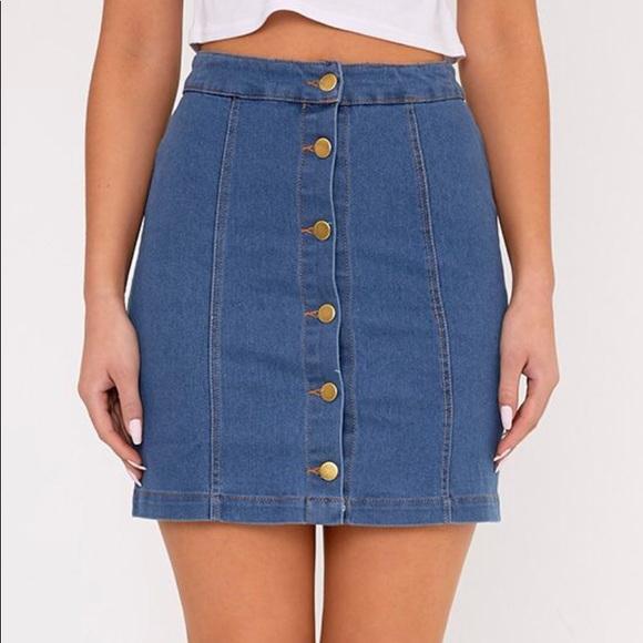 51c4e63048 PrettyLittleThing Skirts | Blue Cammie Denim Mini Skirt | Poshmark